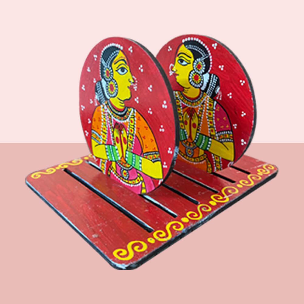 Cheriyal Painting on Round Coaster with Stand DIY kit