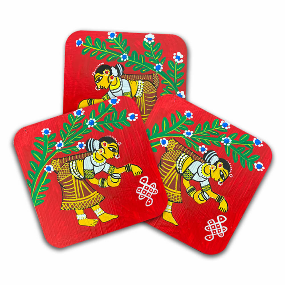 Cheriyal Painting on Square Coaster with Stand DIY kit