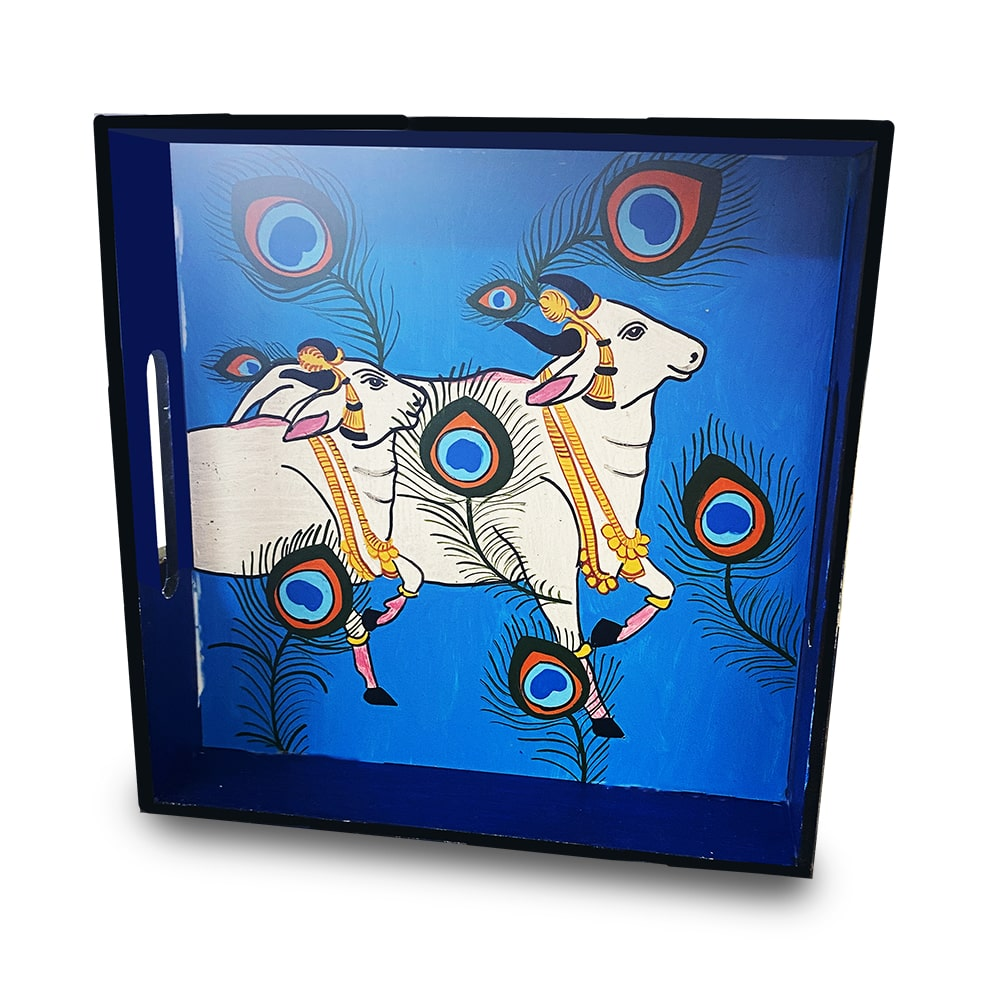Pichwai Painting on Square Tray with Square Coaster DIY kit